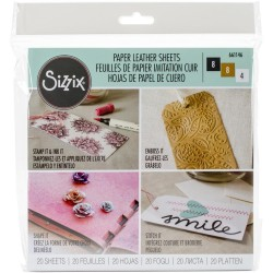 "Basics Assorted Paper Leather 6""x6"" Sheets 20 Pkg Sizzix"