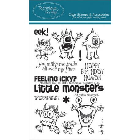 """Monsters Ink Clear Stamps 4""""x6"""" Technique Tuesday"""
