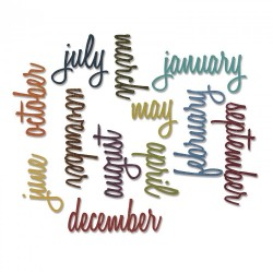 Calendar Words Script Sizzix Thinlits by Tim Holtz