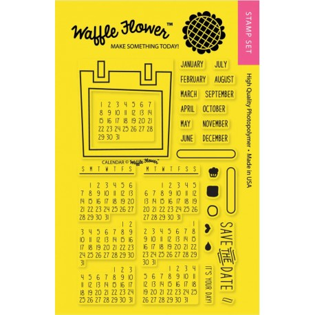 """Timbro Calendar Clear Stamps 4""""x6"""" Waffle Flower Crafts"""