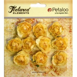 Flowers Petaloo Yellow Mini Garden Rosette Canvas 10 Pkg