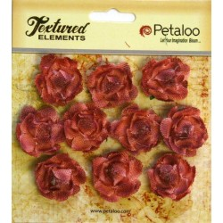 Flowers Petaloo Antique Red Mini Garden Rosette Canvas 10 Pkg