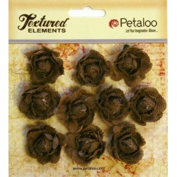 Flowers Petaloo Natural Mini Garden Rosette Canvas 10 Pkg