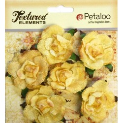 Fiori Petaloo Yellow Garden Rosette Canvas 6 Pkg