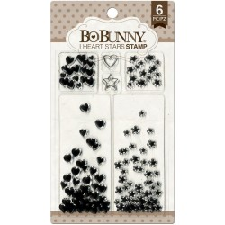 """Timbri I Heart Stars Clear Stamps 4""""x6"""" Bo Bunny"""