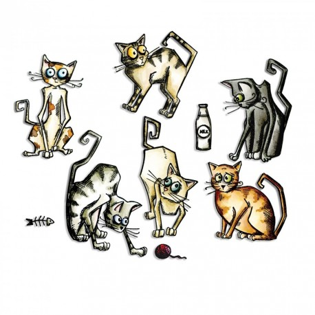 Crazy Cats Sizzix Thinlits by Tim Holtz
