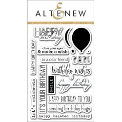 """Birthday Greetings Clear Stamps 4""""x6"""" Altenew"""