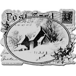 Snowy Postcard Cling Rubber Stamp Stampendous