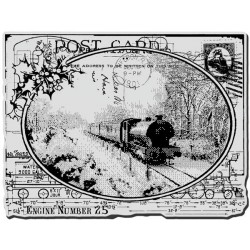 Train Postcard Cling Rubber Stamp Stampendous