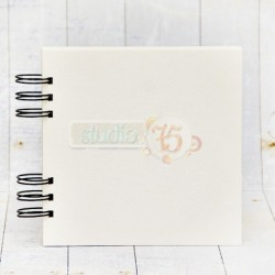 White Chipboard Album 15 x 15 cm with Black Spiral Studio75