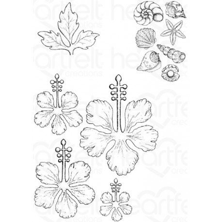 Tropical Hibiscus Cling Rubber Stamps Heartfelt Creations