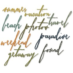Vacation Words Handwritten Sizzix Thinlits by Tim Holtz