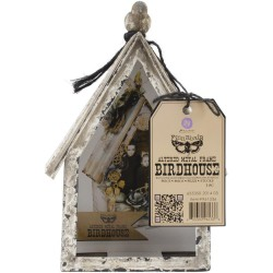 "Altered Metal Frame Birdhouse 3,5""x7""x9,75"" Prima Marketing"