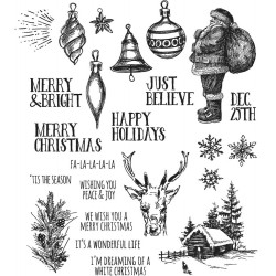 "Holiday Drawings Tim Holtz Cling Rubber Stamp Set 7""x8,5"""