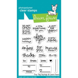 """Tiny Tag Sayings Clear Stamps 3""""x4"""" Lawn Fawn"""