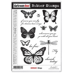 Wings Cling Rubber Stamps Darkroom Door