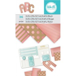 "Kraft & Blush Foil Paper Pad 3""x5"" W R Memory Keepers"