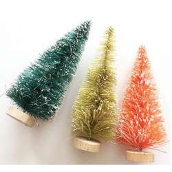 "Merry & Bright Bottle Brush Trees 4"" Fancy Pants"