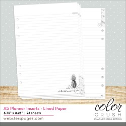 Lined Paper Inserts Color Crush A5 Planner Webster's Pages
