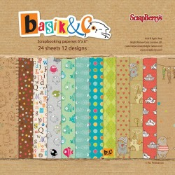"Basik & Co Paper Pack 6""x6"" 24 Pkg Scrapberry's"