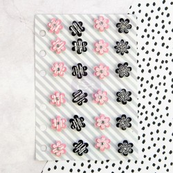 Planner Mini Flowers Pink Black White Embellishments My Prima Planner Prima Maketing
