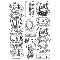 Quote Cling Stamps LOVE Faith scrap My Prima Planner Prima Marketing