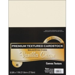 "Vanilla Cream Canvas Texture Premium Cardstock 8,5""x11"" Core'dinations"