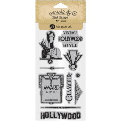 Timbri Vintage Hollywood 3 Cling Stamps by Graphic45 Hampton Art