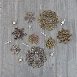 Vintage Snowflakes Mechanicals Metal Embellishments by Finnabair Prima Marketing