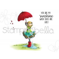 Timbro Tiny Townie Rachel loves the Rain Stamping Bella Cling Rubber Stamps