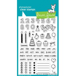 """Plan On It Birthday Clear Stamp 4""""x6"""" Lawn Fawn"""