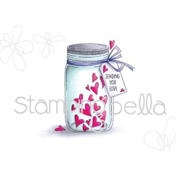 Timbro Mason Jar of Heatrs Stamping Bella Cling Rubber Stamps