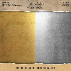 "Metallic Gold & Silver Kraft Stock Cardstock Pad 8""x8"" Idea-ology by Tim Holtz"