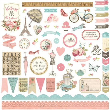 "French Flea Market Elements Stickers 12""x12"" Photo Play"
