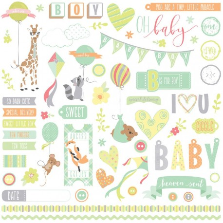 "About A Little Boy Elements Stickers 12""x12"" Photo Play"