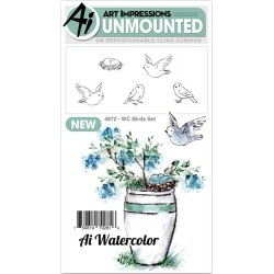 Watercolor Birds Set Cling Rubber Stamp Art Impressions