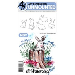 Watercolor Bunnies Set Cling Rubber Stamp Art Impressions