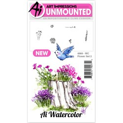 Flower 2 Set Watercolor Cling Rubber Stamps Art Impressions