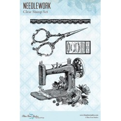 "Needlework Clear Stamps 4""x6"" Blue Fern Studios"