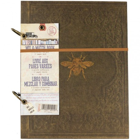 """Faux Leather With Gold Bee Architextures 2-Ring Mix & Match Book 8.5""""x11"""" 7 Gypsies"""