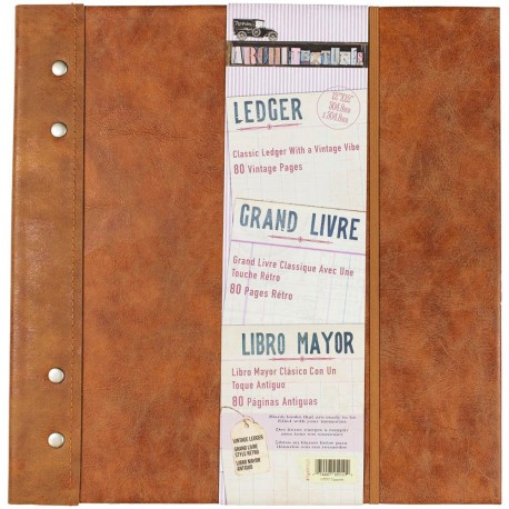 "Faux Leather With Metal Accent Architextures Ledger Book 12""x12"" 7 Gypsies"