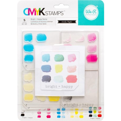 """Bright + Happy CMYK Stamp Kit 3""""x3"""" We R Memory Keepers"""