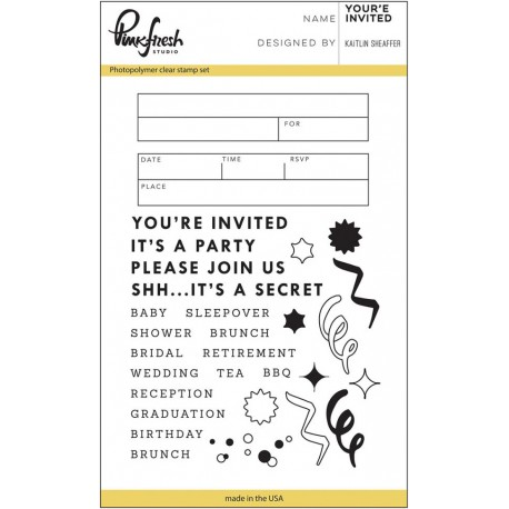 """You Are Invited Clear Stamp Set 4""""x6"""" Pinkfresh Studio"""