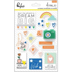 Dream On Layered Schiboard Stickers 15 Pkg Pinkfresh Studio