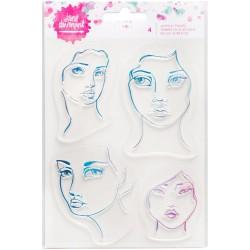 Mix & Match 4 Faces Acrylic Stamp Mixed Media Jane Davenport