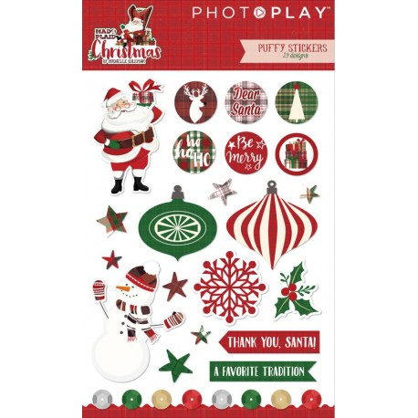 Mad 4 Plaid Christmas Puffy Stickers PhotoPlay