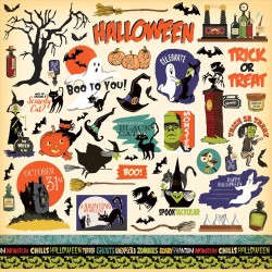 "Haunted House Element Sticker 12""x12"" Carta Bella"