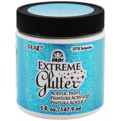 Turquoise Extreme Glitter Acrylic Paint 148 ml FolkArt Home Decor Plaid