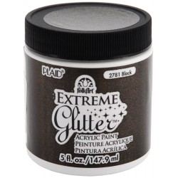 Black Extreme Glitter Acrylic Paint 148 ml FolkArt Home Decor Plaid