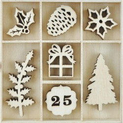 Traditional Christmas Wooden Flourishes Pack 45 Pkg Kaisercraft